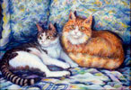thumbnail version of two cats painting