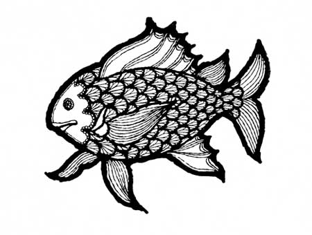 black and white illustration of a fish